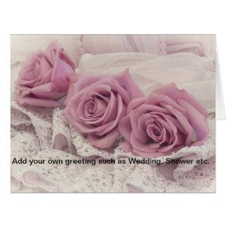 Dos rosas cartão cor-de-rosa da vida ainda