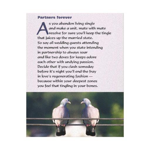 Dos sócios poema para sempre com foto da pomba impressão de canvas envolvida