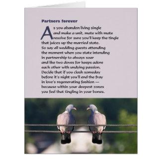 Dos sócios poema para sempre com foto da pomba cartão