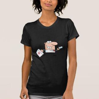Doutor Running Com Um Seringa e saco Tshirts