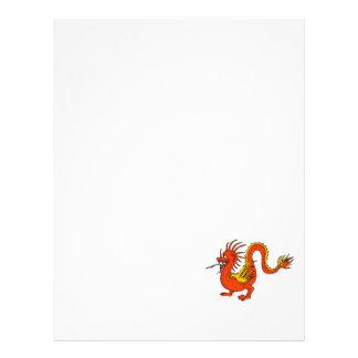 Dragão asiático alaranjado panfletos
