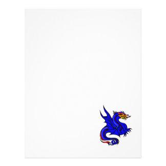 Dragão azul asiático modelo de panfletos