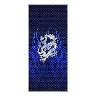 Dragão azul em estilos da fibra do carbono do 10.16 x 22.86cm panfleto