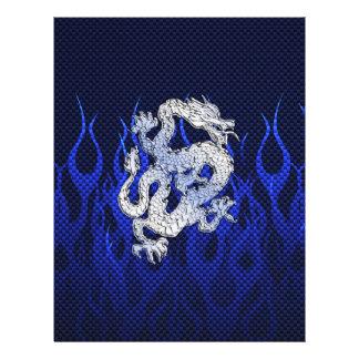 Dragão azul em estilos da fibra do carbono do modelos de panfleto