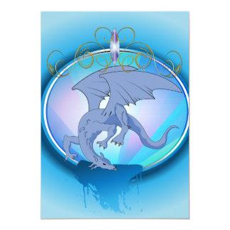 Dragão azul engraçado dos desenhos animados convite 12.7 x 17.78cm