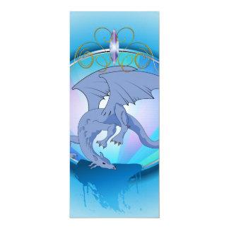 Dragão azul engraçado dos desenhos animados convite 10.16 x 23.49cm
