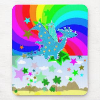 Dragão azul Pixelart dos desenhos animados Mouse Pad