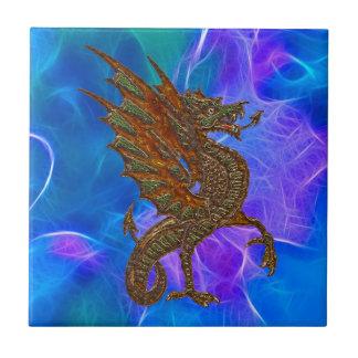 Dragão celta de Galês no ouro em azuis II