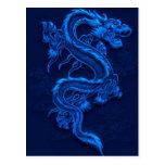 Dragão chinês azul cartões postais
