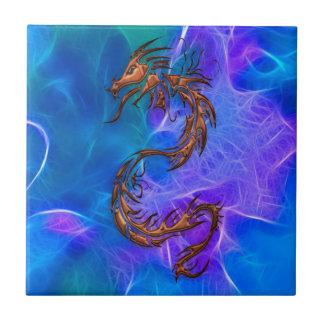 Dragão chinês colorido cobre em azuis V