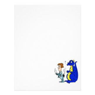 Dragão com cavaleiro queimado panfletos coloridos