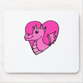 Dragão cor-de-rosa do coração mouse pad