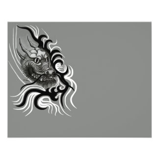 Dragão de China em Tattoostyle Flyer 11.43 X 14.22cm