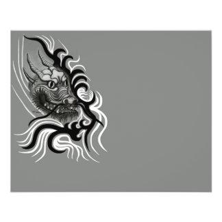 Dragão de China em Tattoostyle Modelo De Panfleto
