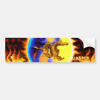 Dragão do fogo com seus nomes nas chamas adesivo para carro