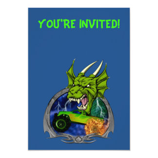 Dragão do monster truck convite 12.7 x 17.78cm
