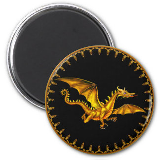 dragão do ouro do vôo no preto ímã redondo 5.08cm