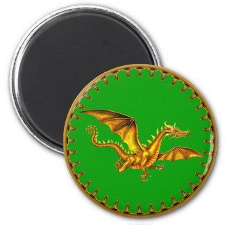 dragão do ouro no verde ímã redondo 5.08cm
