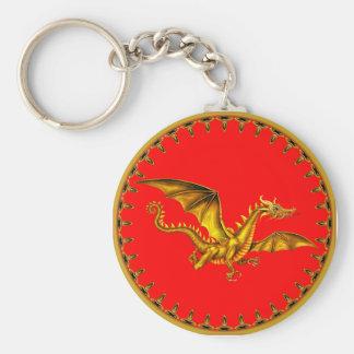 dragão do ouro no vermelho chaveiros
