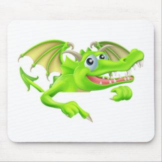 Dragão dos desenhos animados que aponta para baixo mousepads
