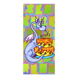 Dragão e bolo de aniversário 10.16 x 22.86cm panfleto