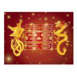 Dragão e cartão chineses de Phoenix Cartoes Postais