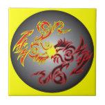 dragão gêmeo vermelho da lua azulejos