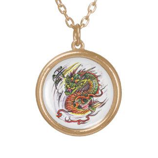 Dragão oriental do símbolo legal do tatuagem dos colar banhado a ouro