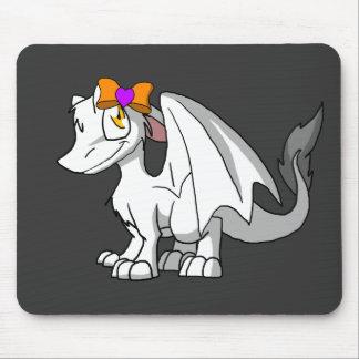 Dragão peludo branco do SD com coração Hairbow do Mouse Pad