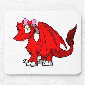 Dragão peludo vermelho do SD com dia dos namorados Mouse Pad