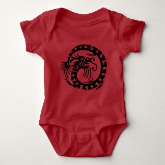 Dragão preto body para bebê