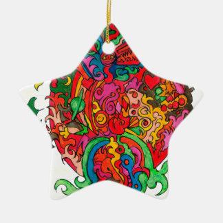 Dragão psicadélico ornamento de cerâmica
