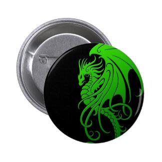Dragão tribal de voo - verde no preto botons
