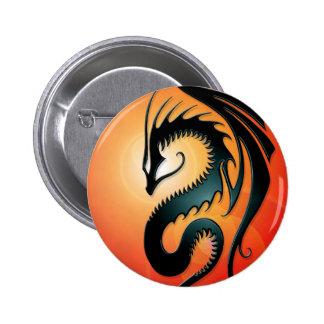 Dragão tribal preto, vermelho botons