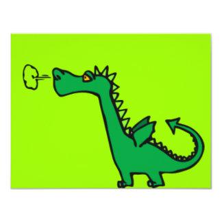 Dragão verde dos desenhos animados convite 10.79 x 13.97cm