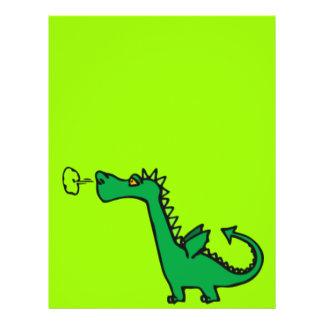 Dragão verde dos desenhos animados flyer 21.59 x 27.94cm