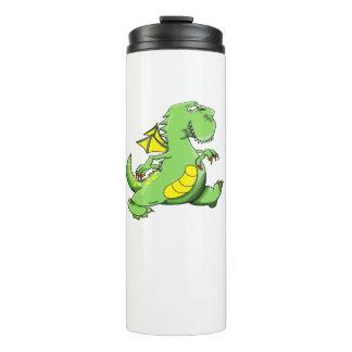 Dragão verde dos desenhos animados que anda em