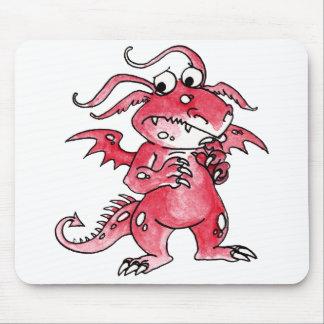Dragão vermelho preocupado mousepads