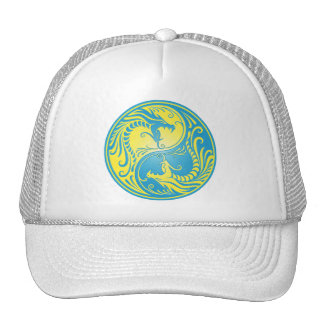 Dragões, amarelo e azul de Yin Yang Boné