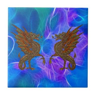 Dragões celtas de Galês no ouro em azuis III