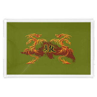 Dragões da bandeja 2, fogo, símbolo chinês bravo