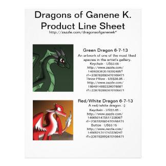 Dragões da folha da linha de produtos de Ganene K. Flyer 21.59 X 27.94cm