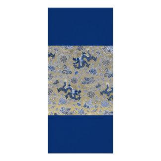 Dragões e flores azuis no ouro maçante 10.16 x 22.86cm panfleto
