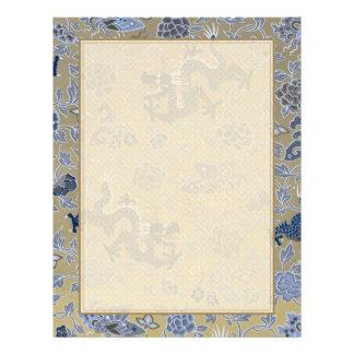 Dragões, flores, borboletas - azul no ouro maçante modelo de panfleto