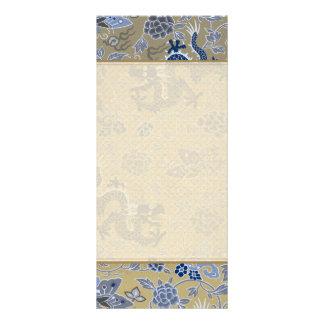 Dragões, flores, borboletas - azul no ouro maçante 10.16 x 22.86cm panfleto