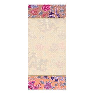Dragões roxos cor-de-rosa e teste padrão de flores 10.16 x 22.86cm panfleto