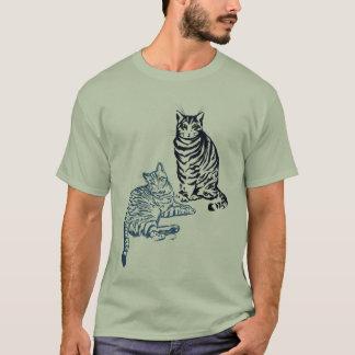 Duas camisas dos gatos de gato malhado T