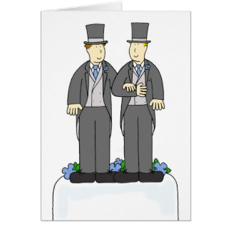 Duas felicitações do casamento gay dos noivos cartão comemorativo