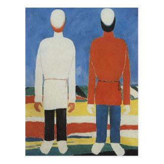 Duas figuras masculinas por Kazimir Malevich Cartão Postal