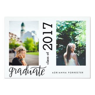 Duas fotos escritas à mão graduadas modernas convite 12.7 x 17.78cm